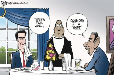 Lunch at the White House © Bruce Plante,Tulsa World,obama,lunch,white house,romney,gift, white house lunch