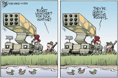 Duck Hunting Rocket © Bruce Plante,Tulsa World,duck,hunting,weapons,assault,killing,violence,Assault Weapons, guns, hunting guns, Living With Guns