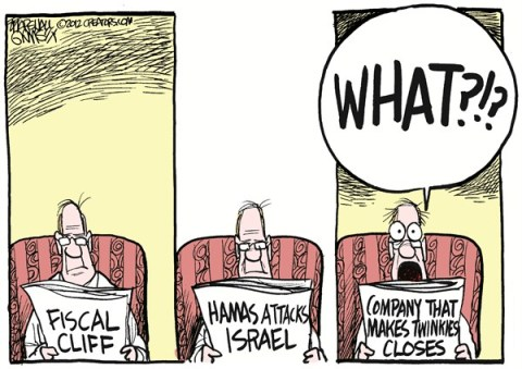 Twinkie Horror © Marshall Ramsey,The Clarion Ledger, Jackson Mississippi,gaza,twinkies,bankrupt,hamas,attack,gaza-fighting,hostess-bankruptcy,fiscal cliff, gaza fighting, hostess bankruptcy