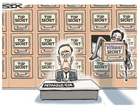 Top Secret © Steve Sack,The Minneapolis Star Tribune,petraeus,cia,woman,affair,secret,email,resign,petraeus-affair,petraeus affair, spy