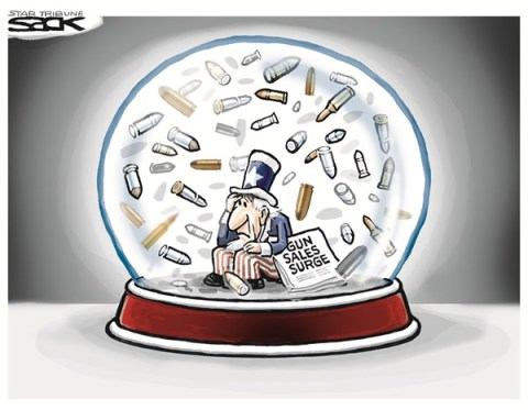 Gun Sales Surge © Steve Sack,The Minneapolis Star Tribune,guns,sales,surge,violence,bullets,gun debate 2012, nra