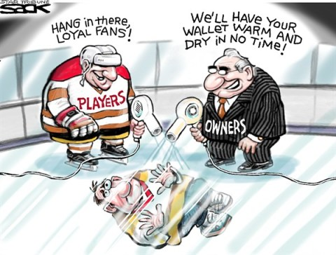 Steve Sack - The Minneapolis Star Tribune - Welcome Back NHL Fans color - English - NHF,hockey,hockey fans,fans,lockout,hockey season,player strike,,hockey lockout