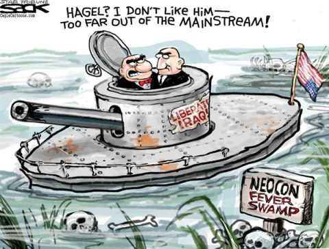 Steve Sack - The Minneapolis Star Tribune - Hagel vs Neocons color - English - Hagel, Neocon, Senate, Secretary of Defense, Obama, nominee, Obama cabinet