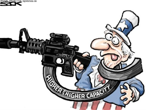 Steve Sack - The Minneapolis Star Tribune - High Capacity Guns color - English - gun, guns, capacity, crime, violence NRA, gun control