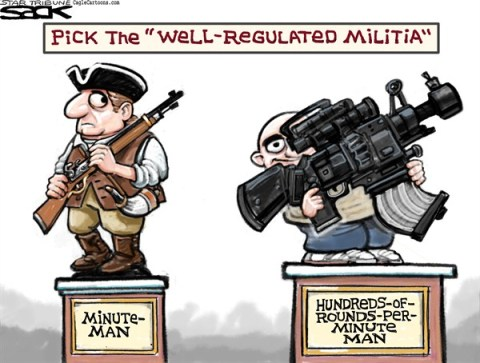 Steve Sack - The Minneapolis Star Tribune - Well Regulated Gun Rights color - English - gun, guns, gun control, Second Amendment, NRA, minuteman