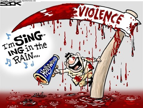 Steve Sack - The Minneapolis Star Tribune - Hollywood Violence color - English - violence, Hollywood, entertainment industry, shootings, gun, movies, film, media, entertainment, culture
