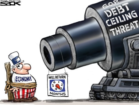 Steve Sack - The Minneapolis Star Tribune - Debt Ceiling Gun color - English - debt ceiling, GOP, economy, Congress,