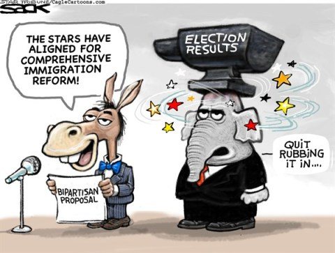 Steve Sack - The Minneapolis Star Tribune - Immigration Reform Motivation color - English - immigration, reform, politics, bipartisan