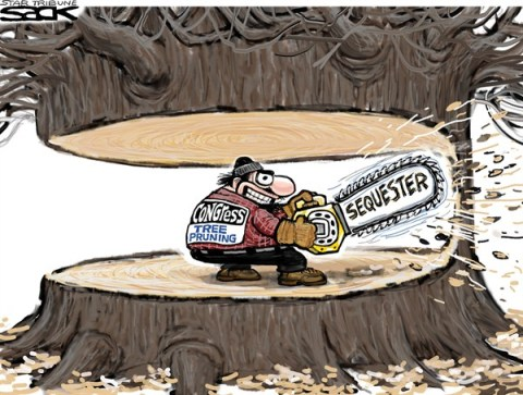 Steve Sack - The Minneapolis Star Tribune - Sequester Budget Trim color - English - sequester, Congress, budget, cuts, economy