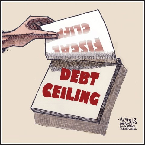 Aislin - The Montreal Gazette - Fiscal cliff morphing to debt ceiling - English - fiscal cliff, debt ceiling