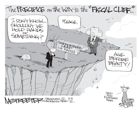 The First Step Is The Hardest © Mark Streeter,The Savannah Morning News,fiscal cliff,compromise,work,team,country,precipice,four-more-years,election-over-2012