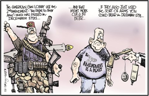 Right to Bear Arms © Martyn Turner,The Irish Times, Dublin,guns,weapons,rights,bear,gun debate 2012, nra, second amendment
