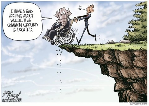 Common Ground © Gary Varvel,The Indianapolis Star News,common ground,obama,tax,fiscal cliff, GOP, taxes common ground