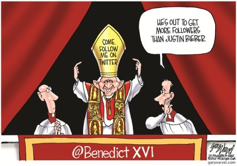 Follow Me © Gary Varvel,The Indianapolis Star News,pope,twitter,tweet,followers,pope-on-twitter