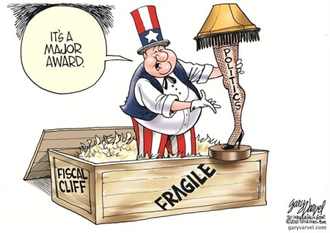 Fragile © Gary Varvel,The Indianapolis Star News,fragile,fiscal cliff,award,taxes-common-ground