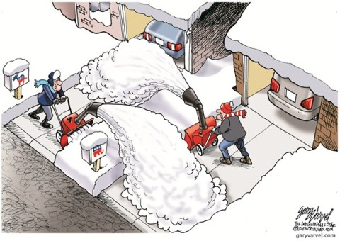 Political Plow © Gary Varvel,The Indianapolis Star News,political,plow,snow,democrats,republicans,winter