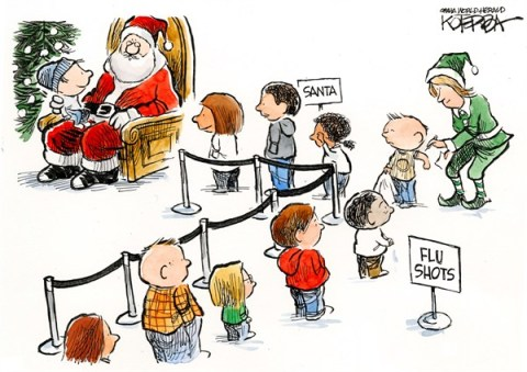 Flu Shots © Jeff Koterba,Omaha World Herald, NE,santa,flu shot,sick,kids,gift,santa-2012
