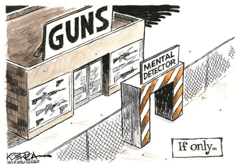 Mental Detector © Jeff Koterba,Omaha World Herald, NE,school,violence,mental,ill,shooter,guns,detector,killing,death,connecticut-shooting,life-with-guns,mentally-ill