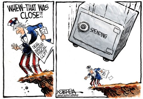 Fiscal Cliff Deal © Jeff Koterba,Omaha World Herald, NE,fiscal cliff,deal,spending,deficit,fiscal-cliff-stopped