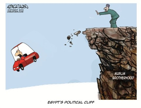 Egypts Fiscal Cliff © Ken Catalino,National/Syndicated,egypt,cliff,democracy,morsi,pharoh-mohamed-morsi