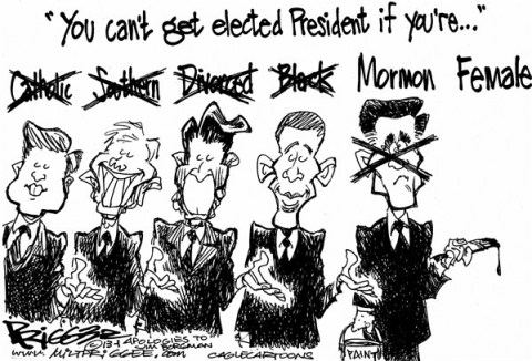 Milt Priggee - www.miltpriggee.com - Romney who - English - romney, obama, reagan, carter, kennedy, catholic, female, mormon, black, divorced, southern, president