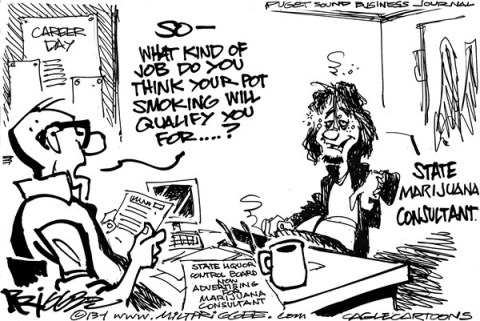 Milt Priggee - Puget Sound Business Journal - Legal Pot - English - legal pot, washington state, marijuana,