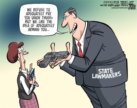 Jeff Parker - Florida Today and the Fort Myers News-Press - Arming Teachers - English - State, lawmaker, legislature, legislators, arming, teachers, Northtown, mass, shooting, school, killings, protection, defend, guns, NRA, lobby, firearms