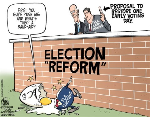 Jeff Parker - Florida Today and the Fort Myers News-Press - LOCAL FL Election Reform Band-aid - English - Florida, Rick Scott, legislature, lawmakers, election, reform, Republican, GOP, early, voting, restore, one, day, add, laws, bill, proposal, band-aid,