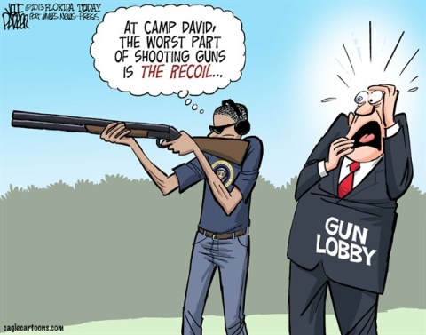 Jeff Parker - Florida Today and the Fort Myers News-Press - Obama Gun Photo - English - Barack, Obama, guns, firearms, photo, skeet, shooting, Camp David, lobby, NRA, recoil