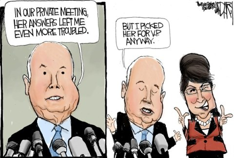 McCains VP © Jeff Darcy,The Cleveland Plain Dealer,john mccain,sarah palin,vice president,meeting,private,trouble