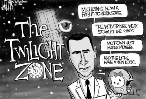 Jeff Darcy - The Cleveland Plain Dealer - The Twilight Zone - English - michigan,right,work,state,wolverine,logo,twilight,zone