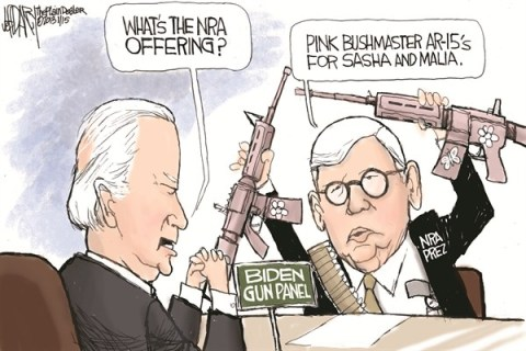 Jeff Darcy - The Cleveland Plain Dealer - NRA Offering - English - nra,guns,biden,panel,offering,bushmaster,weapons,violence