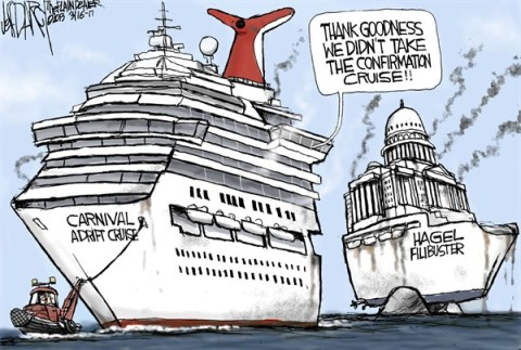 Jeff Darcy - The Cleveland Plain Dealer - Hagel Confirmation on the rocks - English - Chuck Hagel,Filibuster,Carnival cruise,Triumph