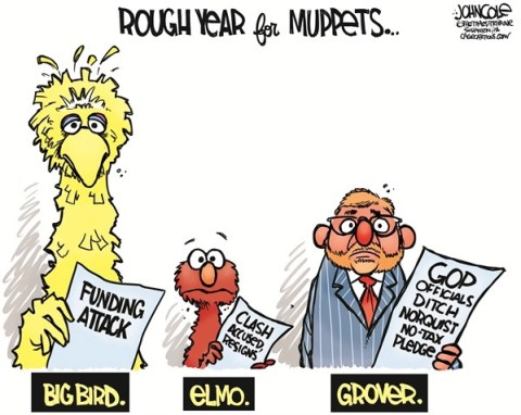 Norquist the Muppet © John Cole,The Scranton Times-Tribune,grover norquist,norquist,big bird,elmo,muppets,taxes,no new taxes,gop,kevin clash,republicans,norquist no tax, pledge
