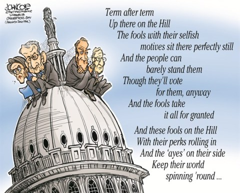 John Cole - The Scranton Times-Tribune - Fools on the Hill COLOR - English - congress, gop, democrats, boehner, mcconnell, reid, pelosi, partisan, budget, obama