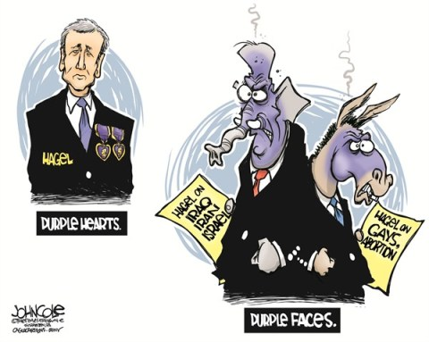 John Cole - The Scranton Times-Tribune - Hagel and his critics COLOR - English - CHUCK HAGEL, HAGEL, DEFENSE SECRETARY, BARACK OBAMA, GOP, DEMOCRATS, CONFIRMATION, NOMINATION, IRAQ, IRAN ISRAEL, GAYS, ABORTION