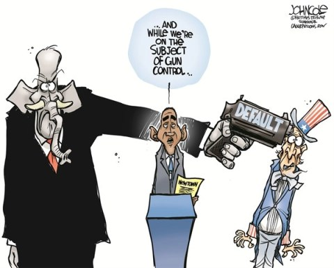 John Cole - The Scranton Times-Tribune - Guns and Default COLOR - English - Guns, Newtown, NRA, GOP, Barack Obama, debt ceiling, default