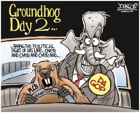 John Cole - The Scranton Times-Tribune - LOCAL PA -- PLCB Groundhog Day - English - PLCB, Pennsylvania, privatization, liquor, tom corbett, GOP
