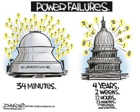 John Cole - The Scranton Times-Tribune - Power failures COLOR - English - SUPERDOME, SUPER BOWL, POWER FAILURE, BLACKOUT, CONGRESS, GRIDLOCK, PARTISANSHIP, GOP, DEMOCRATS, REPUBLICANS
