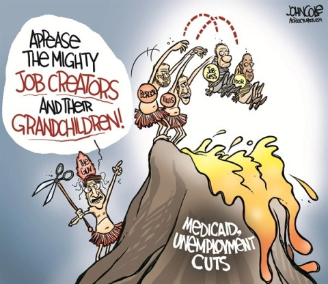 127374 600 LOCAL NC   Medicaid and unemployment cuts cartoons