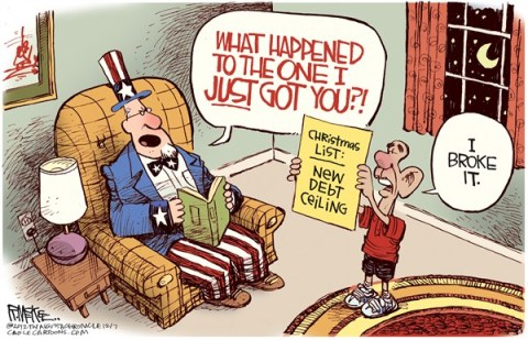 Rick McKee - The Augusta Chronicle - New Debt Ceiling - English - Debt, ceiling, Obama