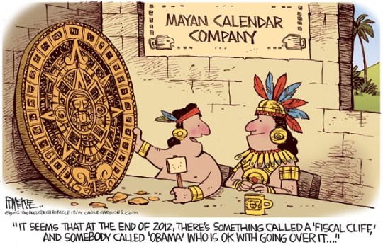 Rick McKee - The Augusta Chronicle - Mayan Calendar - English - Mayan, Calendar, apocalypse, 12/21/12, Fiscal cliff
