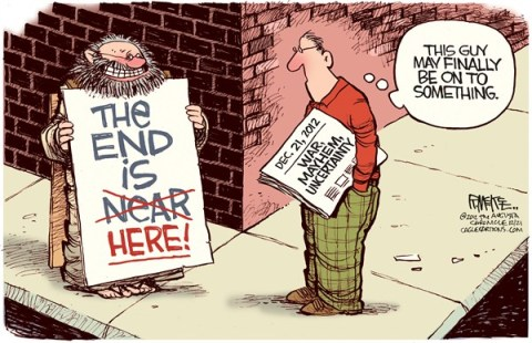 Rick McKee - The Augusta Chronicle - End of the World - English - End of the World, Mayan Calendar, Apocalypse, Doomsday, Fiscal Cliff