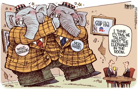 Rick McKee - The Augusta Chronicle - GOP Elephant in the Room - English - GOP, Republican party, elephant in the room, right, right-wingers, moderates