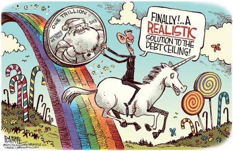 Rick McKee - The Augusta Chronicle - Trillion Dollar Coin - English - Trillion dollar coin, Obama, debt ceiling, Democrats