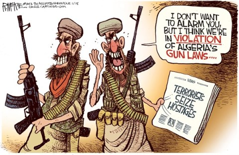 Rick McKee - The Augusta Chronicle - Algeria's Gun Laws - English - Algeria, Islamic, terrorists, hostages, Mali, gun laws, jihadists