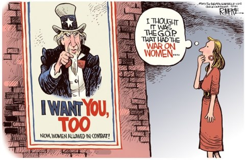 Rick McKee - The Augusta Chronicle - Women In Combat - English - women, women in combat, war, military, I Want You, Uncle Sam