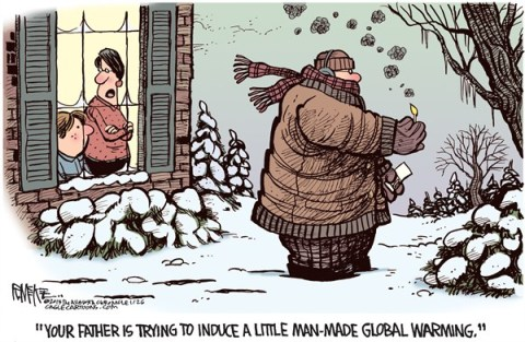 Rick McKee - The Augusta Chronicle - Global Warming Please - English - global warming, winter
