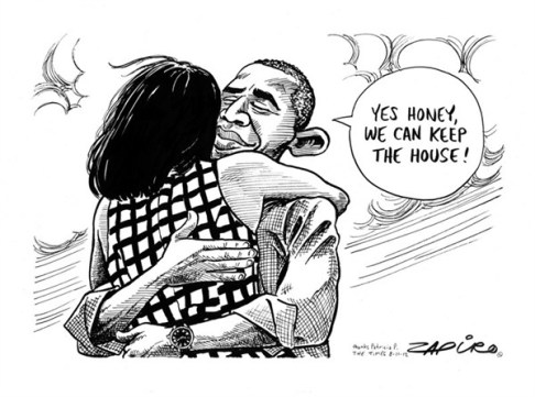 Obama Wins © Zapiro,zapiro.com ,obama,winner,white house,michelle obama,election,obama-wins-2012,election-over-2012