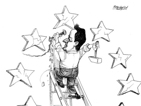 Petar Pismestrovic - Kleine Zeitung, Austria - David Cameron in work - English - David Camerone, Great Britain, Europe, EU, Euro, Crisis Merkel, Germany, France, Hollande